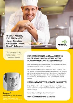 Baue einen schönen Flyer für meinen Internet-Pflege-Service für Restaurants by pipifein
