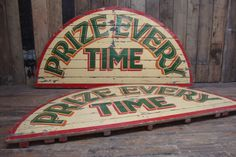 Arched Wooden Painted Fairground Signs