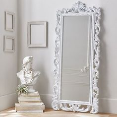 Lennon & Maisy Ornate Wood Carved Floor Mirror mirror 11 Full-Length Mirrors to Add Dimension to Your Space Lighted Wall Mirror, Rustic Wall Mirrors, Wood Framed Mirror, Vintage Mirrors, Painted Mirrors, Decorative Mirrors, Framed Wall, Mirror Mirror, White Ornate Mirror