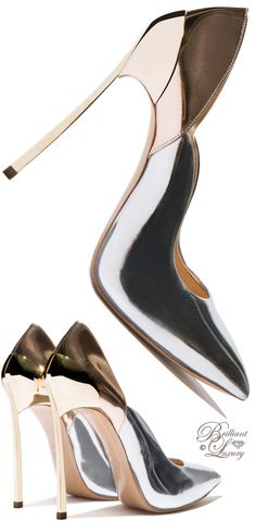 Trendy High Heels For Ladies : Brilliant Luxury by Emmy DE Casadei Techno Mirrored 'Blade' Pump Fab Shoes, Pretty Shoes, Crazy Shoes, Beautiful Shoes, Me Too Shoes, Stilettos, Pumps Heels, High Heels, Mode Shoes