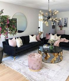 How To Manage Romantic Living Room Decor 44 Romantic Living Room, Living Room Decor Cozy, Living Room Accents, Home Living Room, Interior Design Living Room, Decor Room, Living Room Designs, Blue And Pink Living Room, Interior Colors