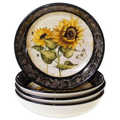 French Sunflowers Soup/Pasta Bowls x by Tre Sorelle Studios - Certified International Dinnerware Pasta Bowl Set, Soup Bowl Set, Sunflower Themed Kitchen, Sunflower Bathroom, Kitchen Themes, Kitchen Ideas, Kitchen Stuff, Kitchen Gadgets, Sunflower Design
