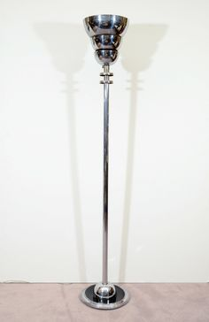 Art Deco Chrome Torchierre Floor Lamp | From a unique collection of antique and modern floor lamps at http://www.1stdibs.com/furniture/lighting/floor-lamps/ from showplace antique design center New York $750