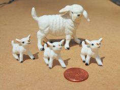 Miniature. SHEEP. Sheep FAMILY. Lamb. Figurine. Sheep Figurine. Bone China. Farm Animal Figurine. 4 pc set. Miniature. Animal Set. Figurines by OurVintageHouse on Etsy