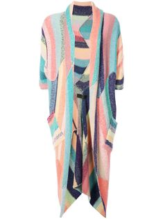 The Elder Statesman irregular stripe Zig Zag U-poncho