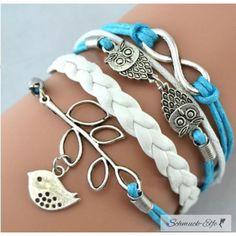 Armband Euly mit Vögelchen  türkis blau  & weiß  im...