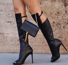 Fashion Black Leather Women Peep Toe Knee High Boots Zipper Back Knee Buckles Ladies High Heel Boots Knight Style Female Boots - destiny davidson - Damenschuhe Thigh High Boots, High Heel Boots, Over The Knee Boots, Heeled Boots, Shoe Boots, Ysl Boots, Gladiator Boots, Women's Shoes, Black Leather Boots