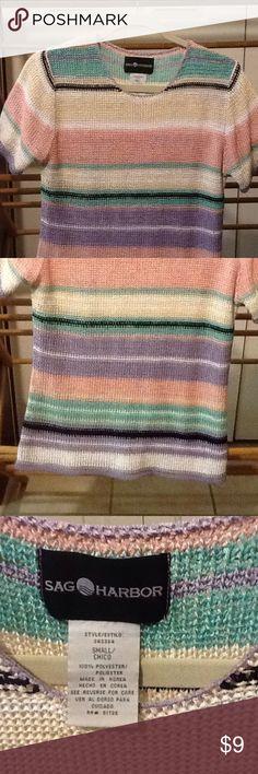 "Vintage Women's Knit Top Size Small Women's size small knit styled polyester striped top. Vintage. 32"" bust, 30"" waist, 34""hips, 25"" long. Sag Harbor Tops Blouses"