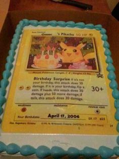 Pokemon Card Cake Pikachu Pokemon Pokemon Birthday