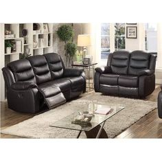 AC Pacific Bennett Leather Sofa And Loveseat Set
