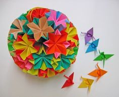 Large Colourful Kusudama Origami Ball - Proceeds to Japan Relief Efforts via Etsy