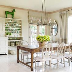 Loving the pop of green in this beautiful kitchen space. #BHGSummer