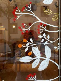 window art — maria over Autumn Window Display Retail, Painted Window Art, Dandelion Wallpaper, Window Mural, Christmas Window Decorations, Halloween Window, Flower Window, Spring Painting, Christmas Art