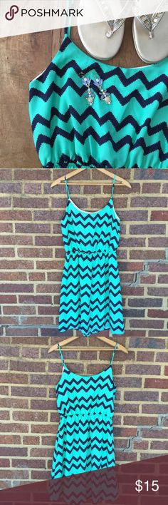 Boutique Chevron Sundress Soft and lightweight sundress from a boutique on Oahu, Hawaii. Beautiful mint green with dark navy chevron pattern. 100% polyester.   ✨Reasonable offers considered ✨Bundle discounts offered Boutique Dresses Midi