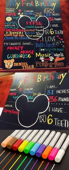 First Birthday Milestone chalkboard make with Kassa liquid chalk markers. The center is a mickey mouse theme and the the likes and interests are in bright rich pigmented colors