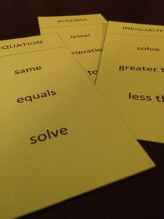 Math vocabulary Guess It! Made for middle school math students for practice with math vocabulary. In this math game, students must get their team to say the math vocab word on the card without using any of the three words listed. Great as a math vocabulary review! Includes 51 cards with a wide range of topics (fractions, decimals, geometry, algebra, probability, and more).