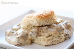 Biscuits and Gravy! Classic Southern homemade buttermilk biscuits with rich and creamy sausage gravy. Comfort food at its best!~ SimplyRecipes.com