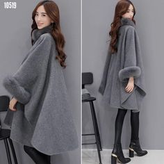Fashion Women Jacket Casual Woollen Outwear Fur Collar Parka Cardigan Cloak Coat Features: is made of high quality materials,durable enought for your daily wearing and fashion Cloak design make you more attractive Coats For Women, Jackets For Women, Clothes For Women, Gilet Long, Mode Mantel, Long Overcoat, Fashion Moda, Fashion Women, Winter Mode