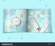 light blue cosmetic brochure design can also be used on catalogs or magazines, 3d illustration. Foundation drops and concealer. Vector illustration