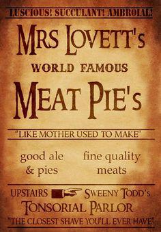 Mrs+Lovett's+meat+pies+sign+Sweeney+Todd+Musical+by+geeksleeksheek,+$17.00