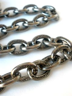 14x11mm Oval Floral Etched Cable Chain Bulk Chain by bellathebead, $4.49