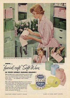 Pink vintage toilet paper!  I remember and was glad to see it go!