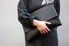 large black envelope clutch