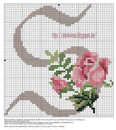 CURIOSA CORUJA PONTO CRUZ: Monograma com Rosas