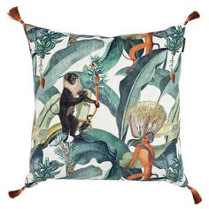 Wonderfully eccentric and one-of-a-kind, this Bermuda cushion from MINDTHEGAP is an exotic addition to any interior. Drawing inspiration from the Caribbean, this statement making cushion is adorned wi Tropical Design, Tropical Style, Tropical Vibes, Tropical Decor, Bermuda Island, Tama, Estilo Tropical, Cushions To Make, Eclectic Living Room