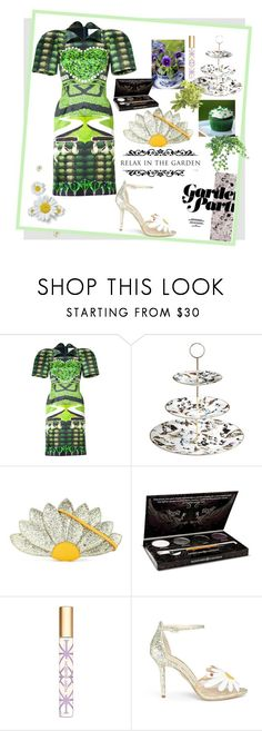 """""""Garden tea party"""" by greensparkle1 ❤ liked on Polyvore featuring Mary Katrantzou, Roberto Cavalli, Charlotte Olympia, HoneyBee Gardens and Tory Burch"""