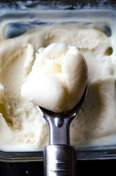 Elastic Turkish Ice Cream. It has a chewy and elastic texture and an aromatic flavor. Definitely addictive! No ice cream maker is required in this recipe! | giverecipe.com
