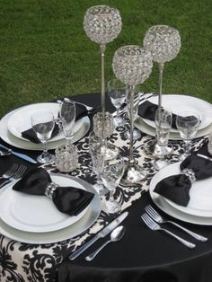 Crystal Decor - could use the tall crystal flutes as candle holders! White Silver Wedding, Black And White Wedding Theme, Black White Parties, Black Silver, Bling Centerpiece, Candle Centerpieces, Candles, Bling Party, Bling Wedding