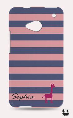 HTC One Phone Case, HTC One Case Stripes Zebra Monogram