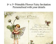 Digital Printable FileDiy Vintage PostcardFlower Fairy