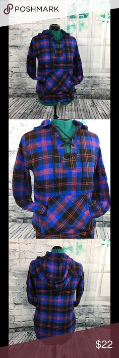 """Women's long sleeved flannel hoodie! Blue and red lace up, drawstring hoodie. Pocket front, long sleeved. Size is a Large, bust 19"""", length 25"""". Fabric is 100% cotton. Derek Heart Tops Sweatshirts & Hoodies"""