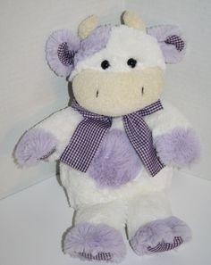 "Animal Adventure Cow White Purple Gingham Bow plush 12"" stuffed animal 2008 #AnimalAdventure"
