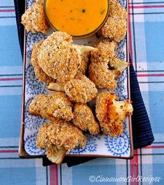 Baked Cauliflower Bites with Cheddar Dipping Sauce - use almond flour & parmesan cheese instead of panko