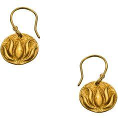 Flying Lizard Gold Lotus Leaf Drop Earrings ($35) ❤ liked on Polyvore featuring jewelry, earrings, fashion jewelryearrings, flower earrings, round earrings, disc earrings, disc drop earrings and gold leaves earrings
