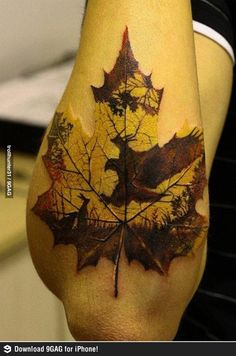 Amazing leaf tattoo. If you didn't notice yourself: there's an eagle hunting a rabbit
