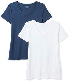 bd83f2130bc Amazon Essentials Women's 2-Pack Short-Sleeve V-Neck Solid T-Shirt,  Navy/White, Medium. fashion reviews