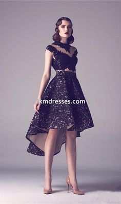 Two Pieces High Low Short Prom Dresses 2015 A-Line Sheer Crew Neck Lace Evening Gown Black Appliqued Graduation Dress