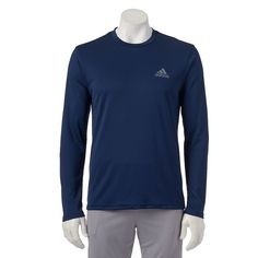Men's Adidas Essential Climalite Performance Tee, Size: Large, Blue (Navy)