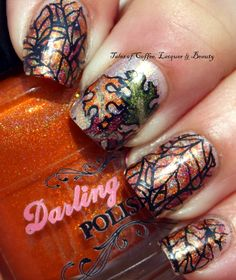Fall Colors and Leaf Nail Art With Darling Diva Arcanist, Cast A Spell, Shapeshifter and ILNP Iconic stamped with Bunny Nails HD-E Stamping Plate