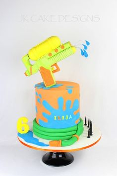 Backyard Birthday Parties, Birthday Party Games For Kids, Birthday Cakes For Men, Birthday Ideas, Water Party Cakes, Water Gun Party, Water Birthday, Birthday Blast, Baby Birthday