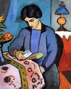 "Blue Girl Reading. August Macke (1887–1914). Expressionism. Fauvism.  Macke was one of the leading members of the German Expressionist group Der Blaue Reiter (The Blue Rider).  Macke developed a ""flat"" yet ornamental style, but always remained true to objective representation. He was deeply influenced by contemporary French painting, particularly by Delaunay's very bright colour used in conjunction with near-Cubist ideas."