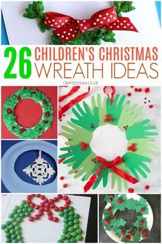 25 Fun and easy children's Christmas wreath ideas with crafts including paper plate wreaths, pom pom wreaths, natural materials and Christmas wreath ornaments. Santa Crafts, Christmas Crafts For Kids, Christmas Fun, Christmas Wreaths, Christmas Activities For Toddlers, Preschool Christmas, Toddler Crafts, Preschool Crafts, Kid Crafts