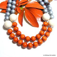 Collier Bois Multirangs, Collier Chunky Orange, Collier Perles Bois Argent, Collier Bois Color-blok : Collier par la-fabrique-de-loulette