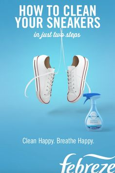 How to Clean Your Sneakers in Two Quick Steps Here you'll find the guide to getting your sneakers looking—and smelling—like new again. Step Wet down a Magic Eraser and lightly scrub away scuff marks and dirt. Step Spray your insoles with Febre House Cleaning Tips, Diy Cleaning Products, Cleaning Solutions, Cleaning Hacks, Cleaning Sneakers, Fabric Refresher, Do It Yourself Fashion, Diy Wardrobe, Laundry Hacks