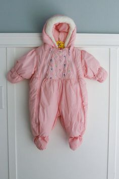 6-9 months: Rothschild Baby Snowsuit Pink Baby Girl by Petitpoesy