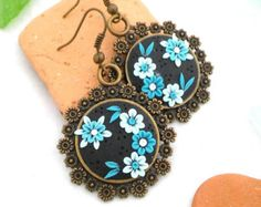 Dangle Earrings Polymer Clay Jewelry Embroidery by OlivesHands